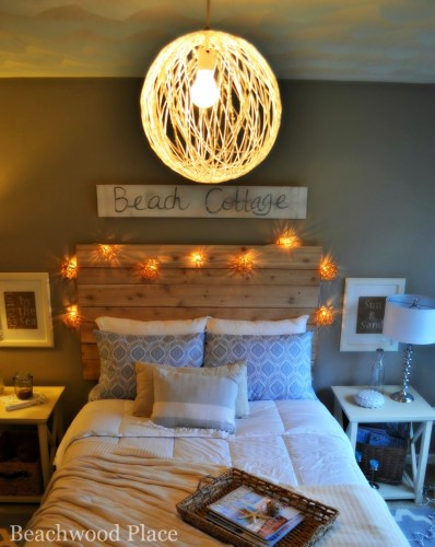 string lights and wood headboard
