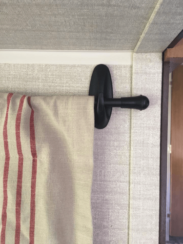 Idea for RV curtains: Hang with Command hooks - no drilling holes in the walls!
