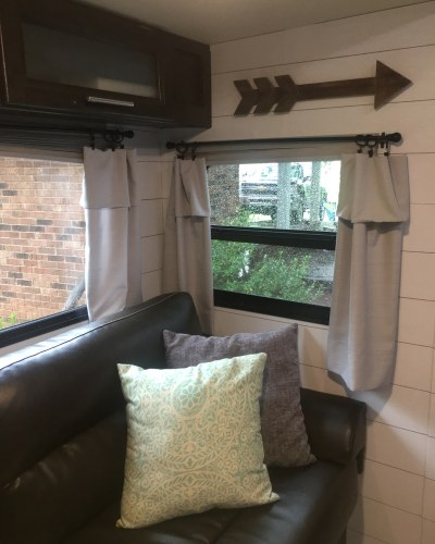 Pillow cases used as curtains in an #RV | Window treatment idea for a #camper, #motorhome, or #traveltrailer