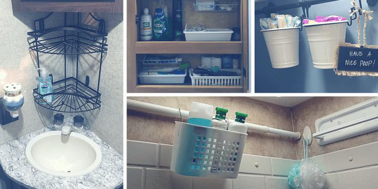 Rv bathroom storage organization ideas rv inspiration for Travel trailer bathroom ideas