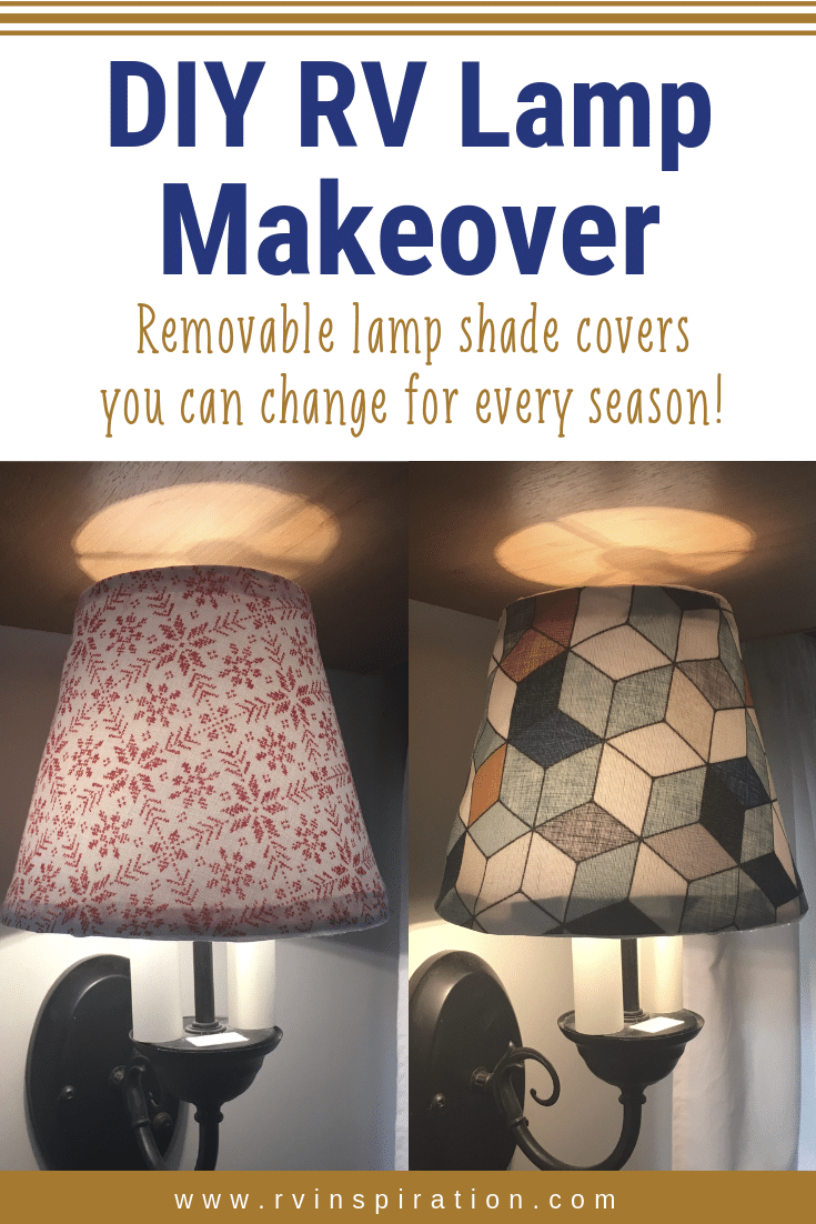 DIY lampshade covers that can be switched out each season! | RVinspiration.com - RV decor ideas for campers and motorhomes
