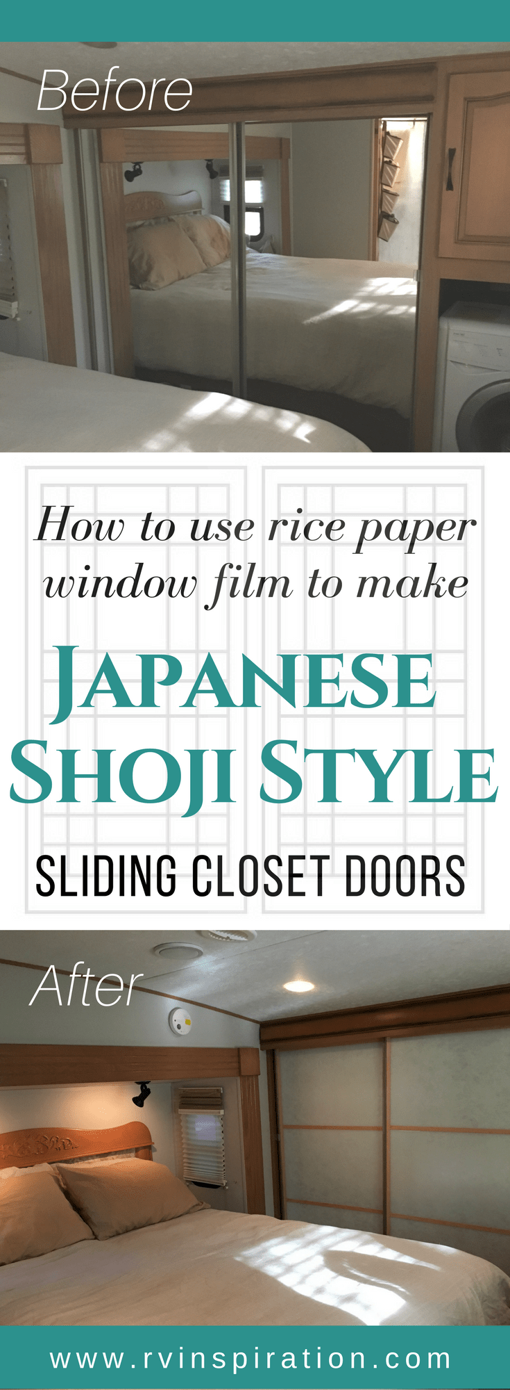 DIY Mirror Closet Makeover Idea: How to Turn Sliding Doors into Japanese Shoji Screens | RVinspiration.com | ideas for motorhomes, campers, travel trailers, and RVs