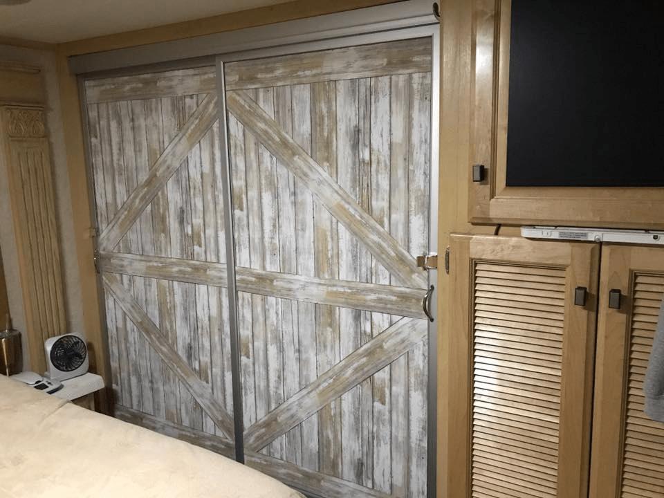 Distressed Wood Wallpaper Barn Door Makeover For Mirror Closet Sliding Door  In RV, Camper,