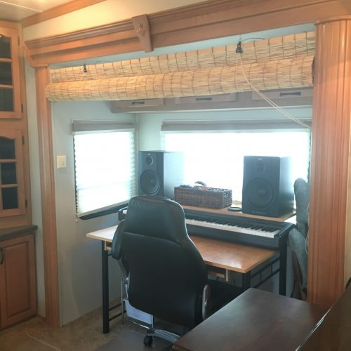 Work / office / recording space in RV | RVinspiration.com | ideas for campers, motorhomes, and travel trailers