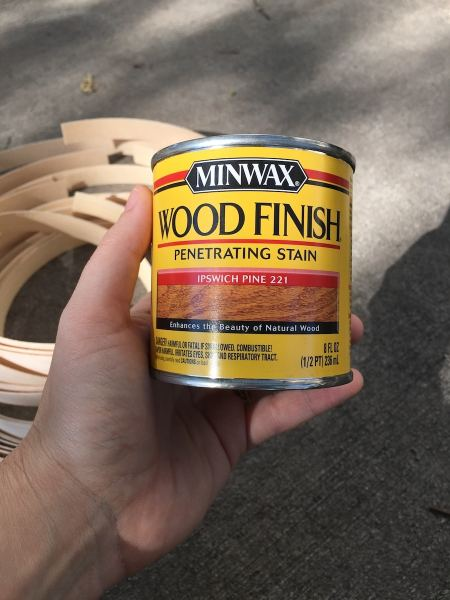 I used Minwax wood stain on the veneer pieces.