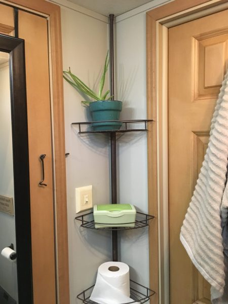 Shower shelf extra #storage idea for #bathroom #organization in a #camper, #traveltrailer, #motorhome, or #RV