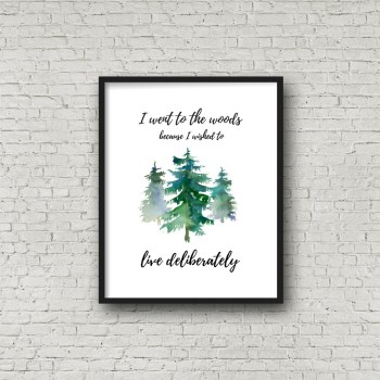 Free printable rustic wall decor from RV Inspiration - Nature Outdoors Thoreau quote | Ideas for campers, motorhomes, and travel trailers