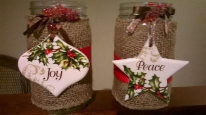 Holiday burlap Mason jars by Julie Chickery