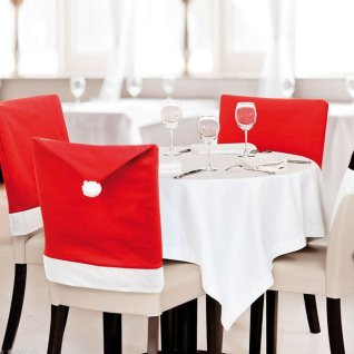 LOHOME® Santa Hat Chair Covers, Set of 4 PCS Santa Clause Red Hat Chair Back Covers Kitchen Chair Covers Sets for Christmas Holiday Festive Decor from Amazon.com