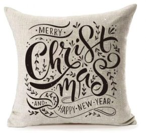 "Happy Christmas Pillow Covers,MFGNEH Christmas and New Year Gifts Cotton Linen Throw Pillow Case Cushion Cover 18"" x 18"" from Amazon.com"