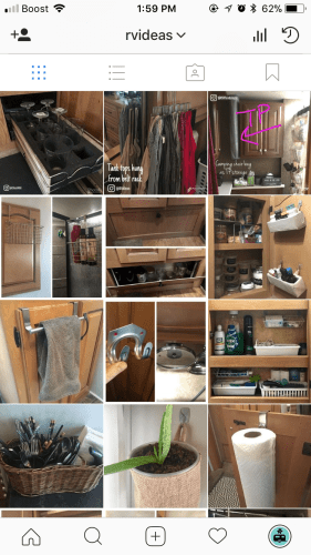 Instagram account sharing nifty and clever ideas and hacks for RV storage and organization