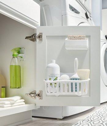 Caddy and sponge holder for cabinet under kitchen sink