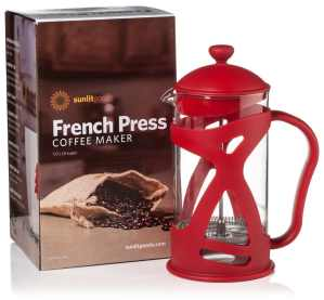 A French Press is a space-saving alternative to a traditional coffee maker in an RV kitchen.