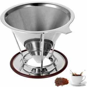 A pourover cone with built-in mesh filter is a space saving and eco-friendly way to brew coffee.