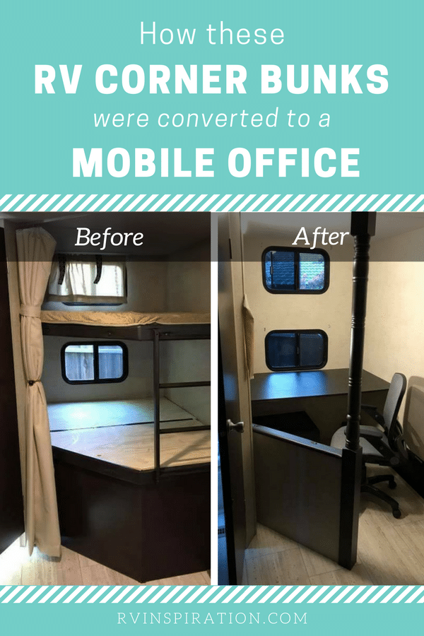 Corner bunkbeds in an travel trailer removed and converted to a mobile office space - bunkhouse RV renovation idea