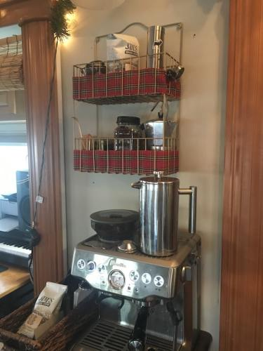 Coffee station in our RV