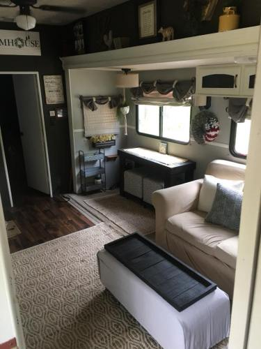 Farmhouse style decor in a fifth wheel RV