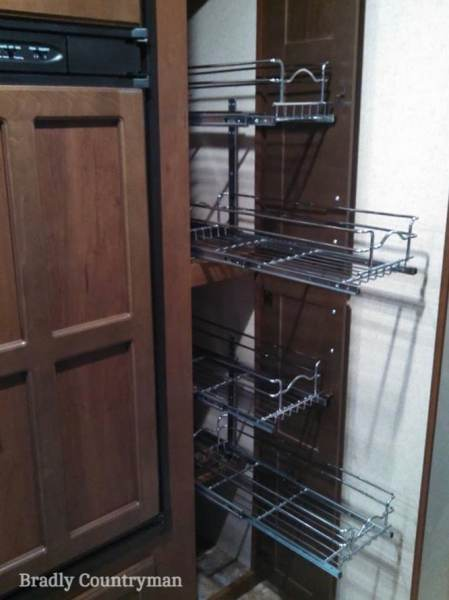 Rev-a-shelf wire slide out baskets can help you reach the back of a deep kitchen pantry cabinet in your #RV. #motorhome #traveltrailer #camper
