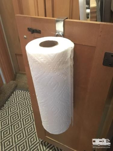 This vertical paper towel holder hangs on a cabinet door in our #RV #kitchen.