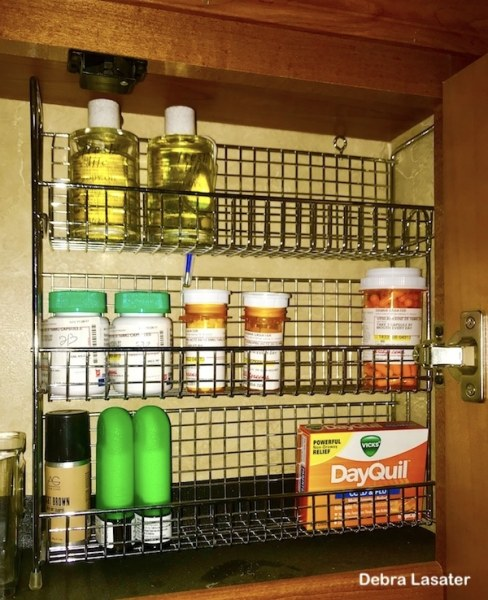 Rack added to #RV cabinet to make better use of a tall space