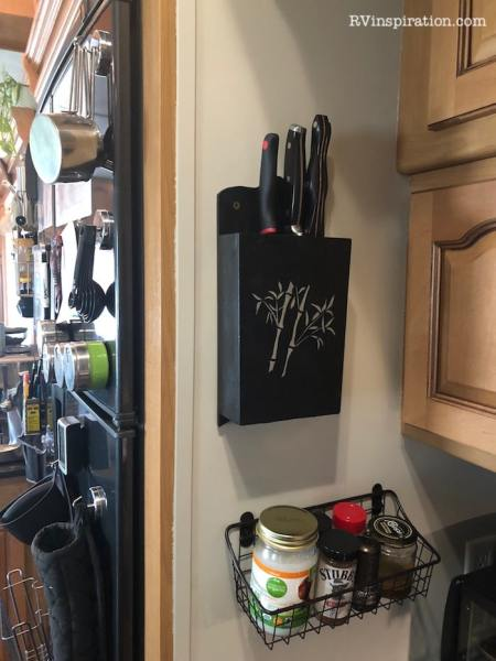 Using vertical space as storage in an RV kitchen