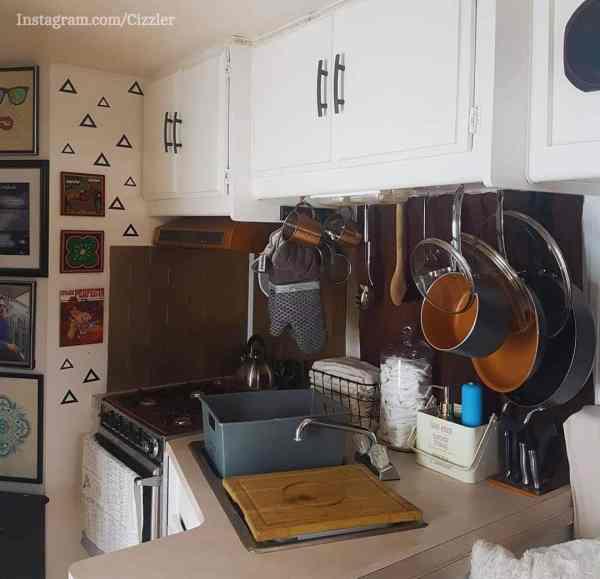 Storage under the cabinet in an RV kitchen
