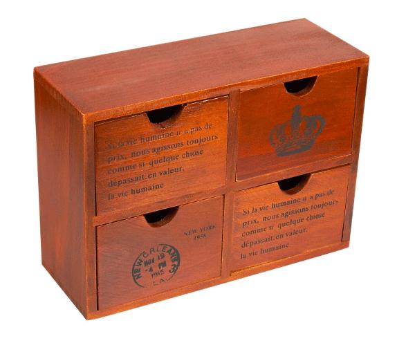 Wood caddy organizer drawers