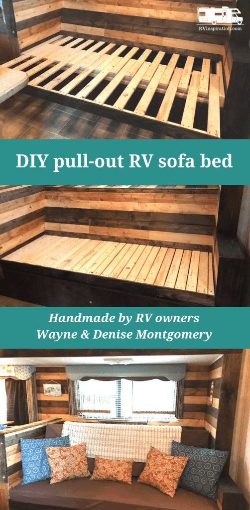 DIY pull out wooden #RV sofa bed handmade by RV owners Denise and Wayne Montgomery | rvinspiration.com