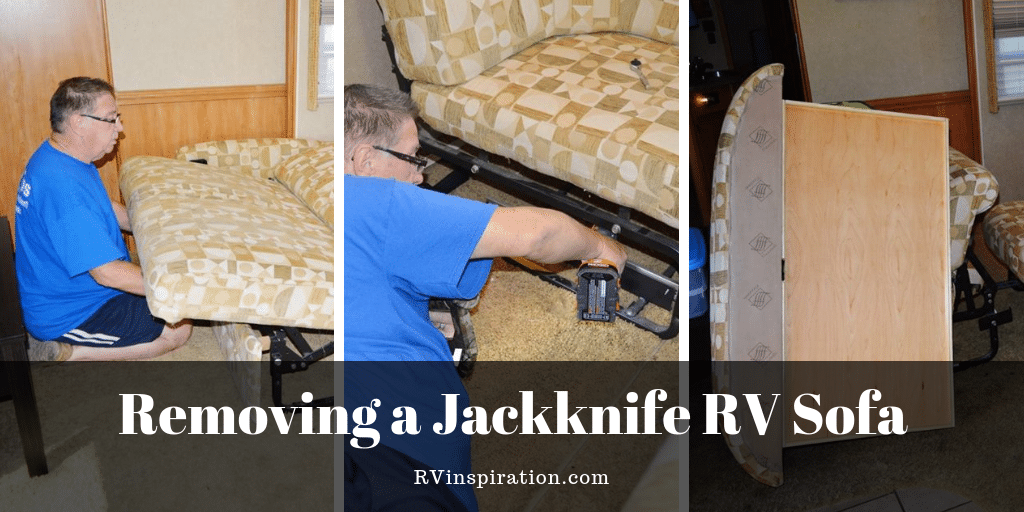 Ed Hurlburt of RV Tips Facebook Group removing the jackknife sofa and dining set in his RV