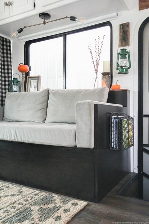 Rustic modern DIY sofa with storage by ModernMountainLife.com