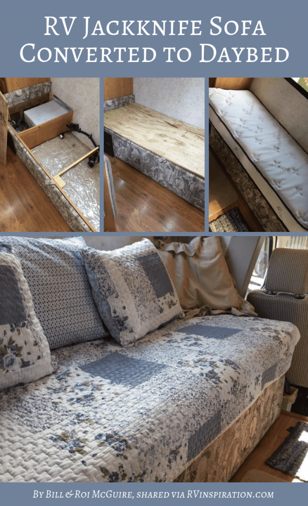 Jackknife Sofa Turned Into Custom Daybed by Bill and Roi McGuire   rvinspiration.com