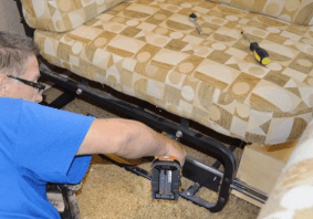 Ed Hurlburt of RV Tips Facebook Group shows how to remove a jackknife sofa and dining set in his RV