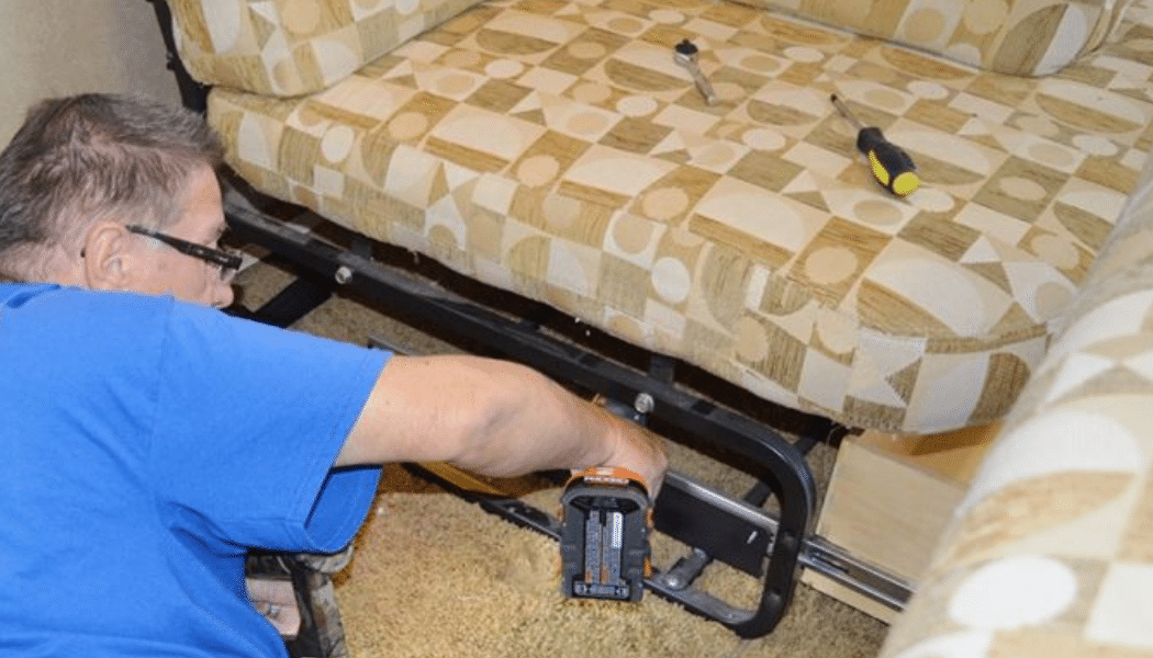 Ed Hurlburt Of RV Tips Facebook Group Shows How To Remove A Jackknife Sofa  And Dining