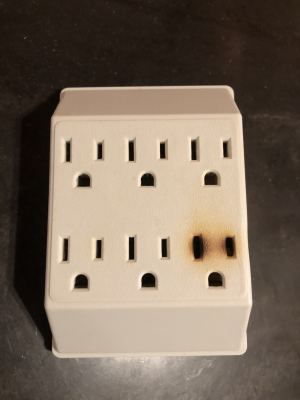 This is what can happen when you plug a space heater into a multi-plug electrical outlet.