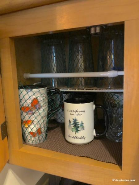 How to keep glass dishes from breaking in an RV kitchen cabinet