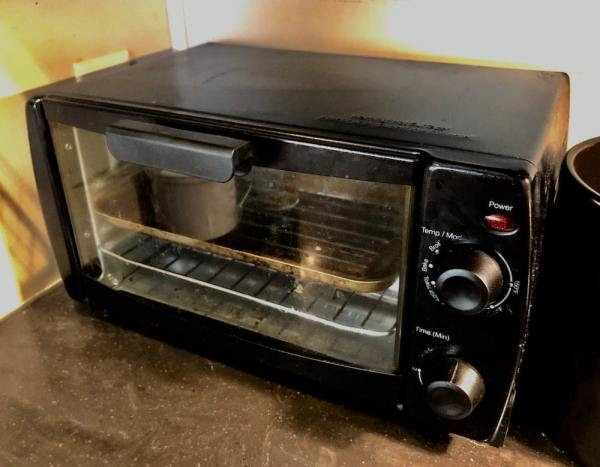A toaster oven is an essential kitchen item in my RV.