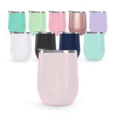 Unbreakable stemless wine glass travel tumbler for camping