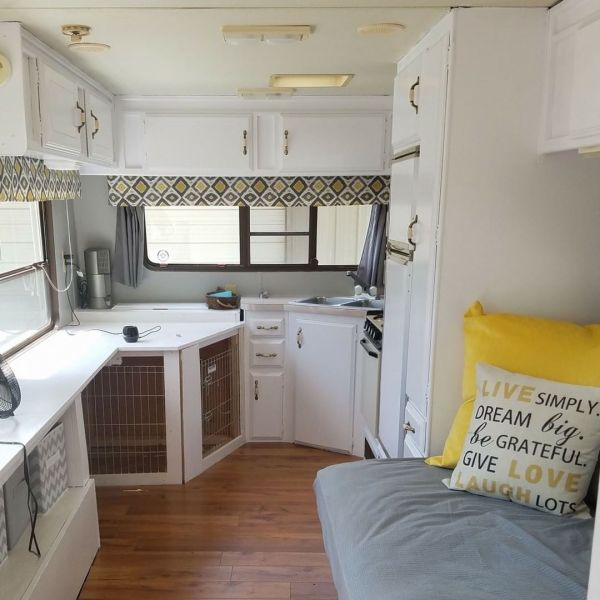 Custom dog kennel added to camper