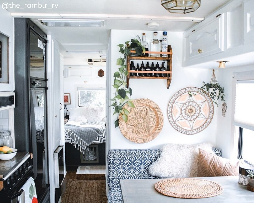 the_ramblr_rv Bohemian prints in renovated RV