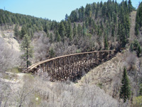 A train trestle crosses a canyon near Cloudcroft.