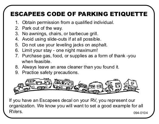 Overnight RV parking etiquette