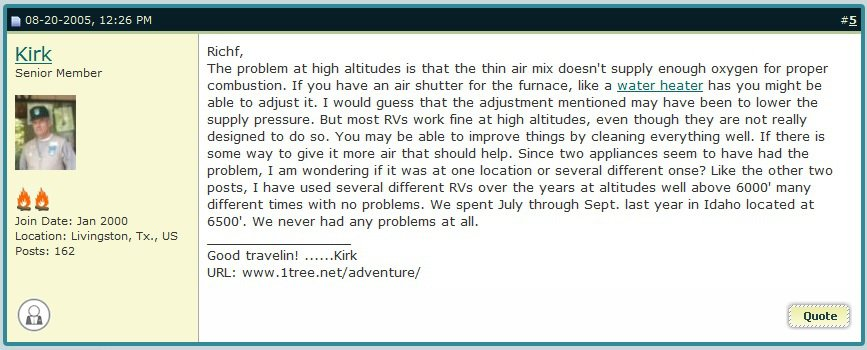 altitude's effects on RV
