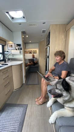 We work remotely from a RV on the beach