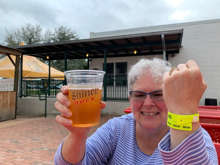 Patti with some Shiner Beer