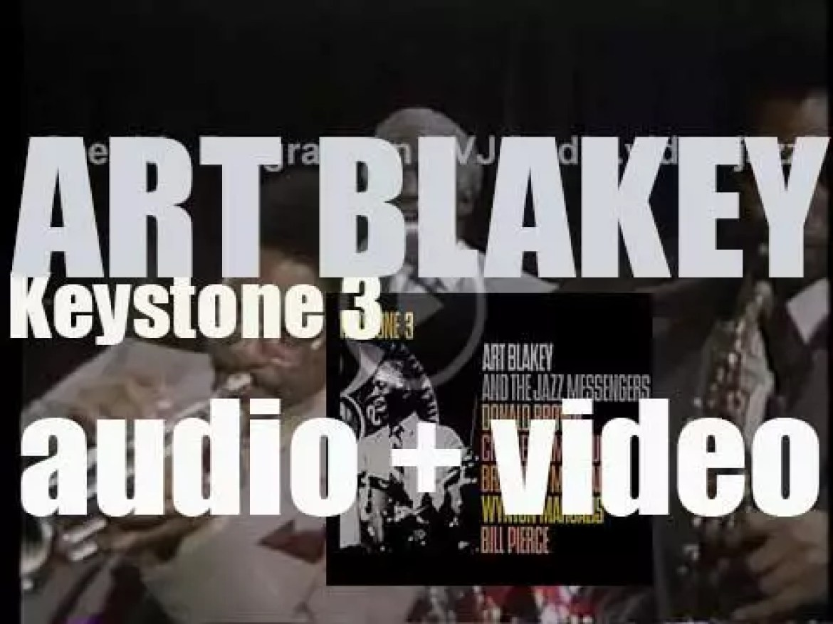 Art Blakey records 'Keystone 3' with the Jazz Messengers featuring Wynton Marsalis and Branford Marsalis for Concord Jazz (1982)