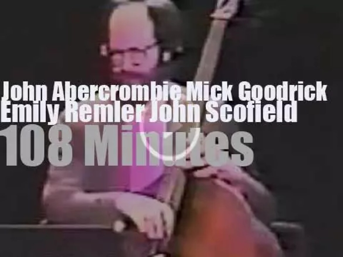 Abercrombie, Goodrick, Remler, Scofield together at a guitar festival (1988)