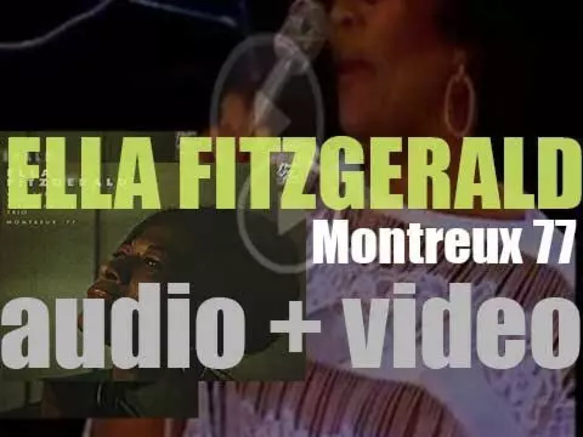Ella Fitzgerald records 'Montreux '77' with the Tommy Flanagan Trio at the Montreux Jazz Festival (1977)