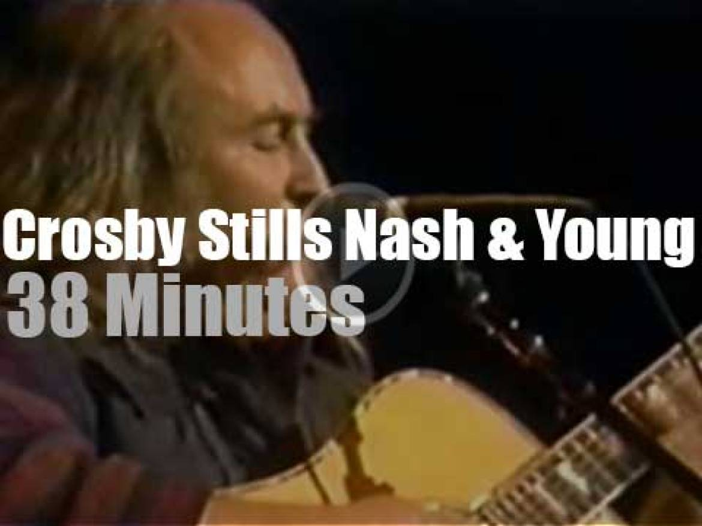 Crosby, Stills, Nash & Young reunite for a school (1988)