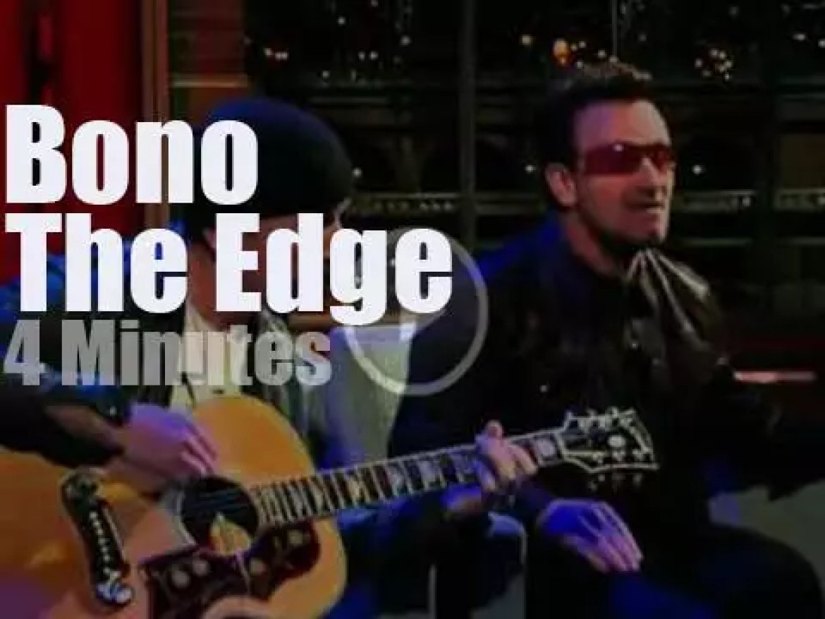 On TV today, Bono & The Edge with Letterman (2011)