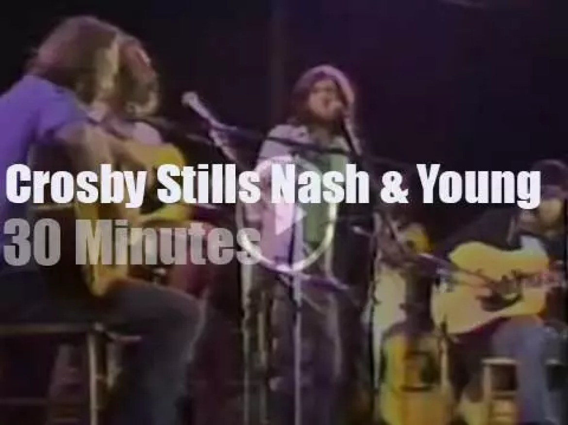 Crosby, Stills, Nash and Young harmonize in London (1974)